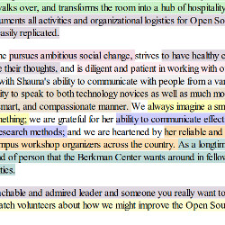 Screenshot of letter text